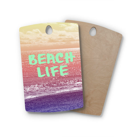 "Alison Coxon ""Beach Life"" Pink Coastal Rectangle Wooden Cutting Board"