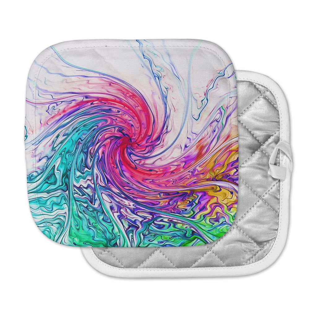 "Alison Coxon ""Colour Wave"" Teal Fantasy Pot Holder"