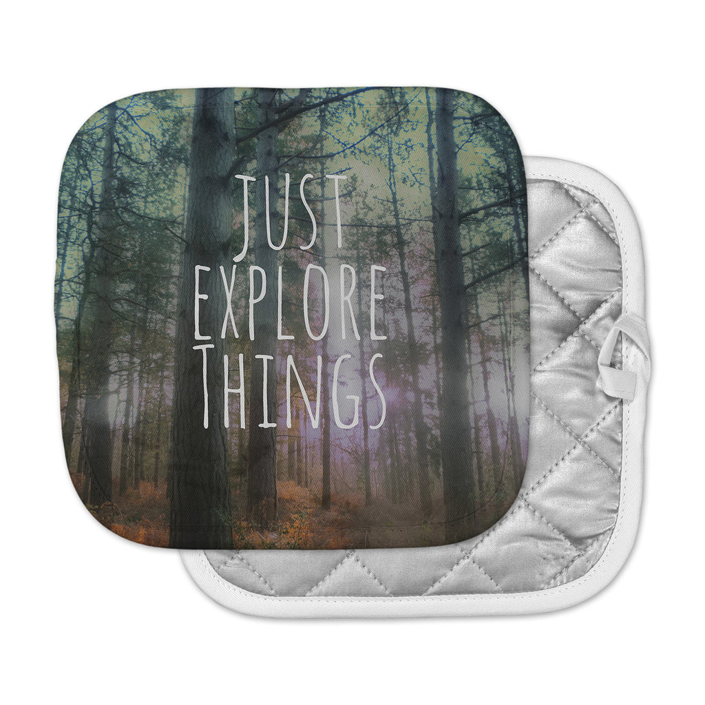 "Alison Coxon ""Just Explore Things"" Green Photography Pot Holder"