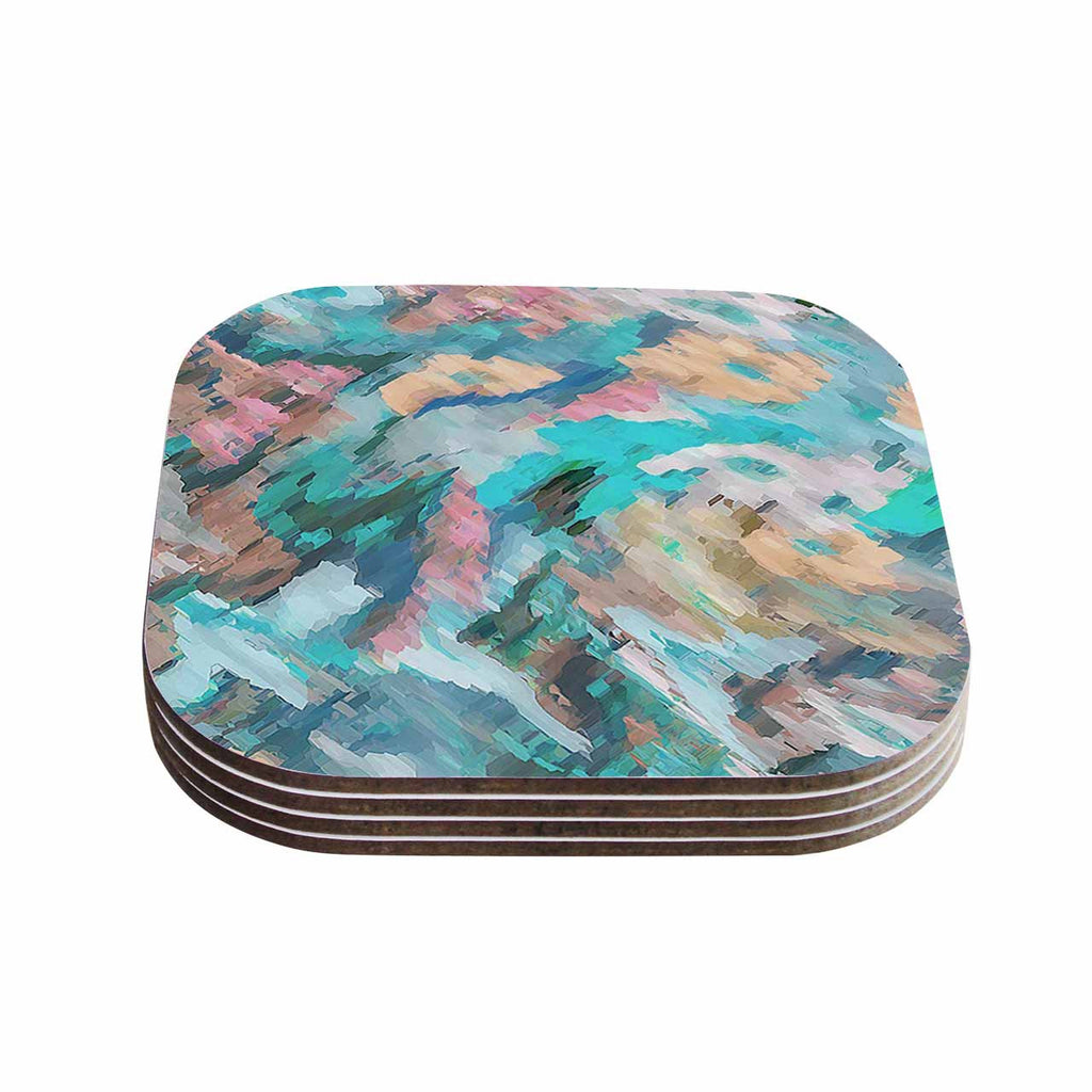 "Alison Coxon ""Giverny Blue"" Teal Abstract Coasters (Set of 4)"