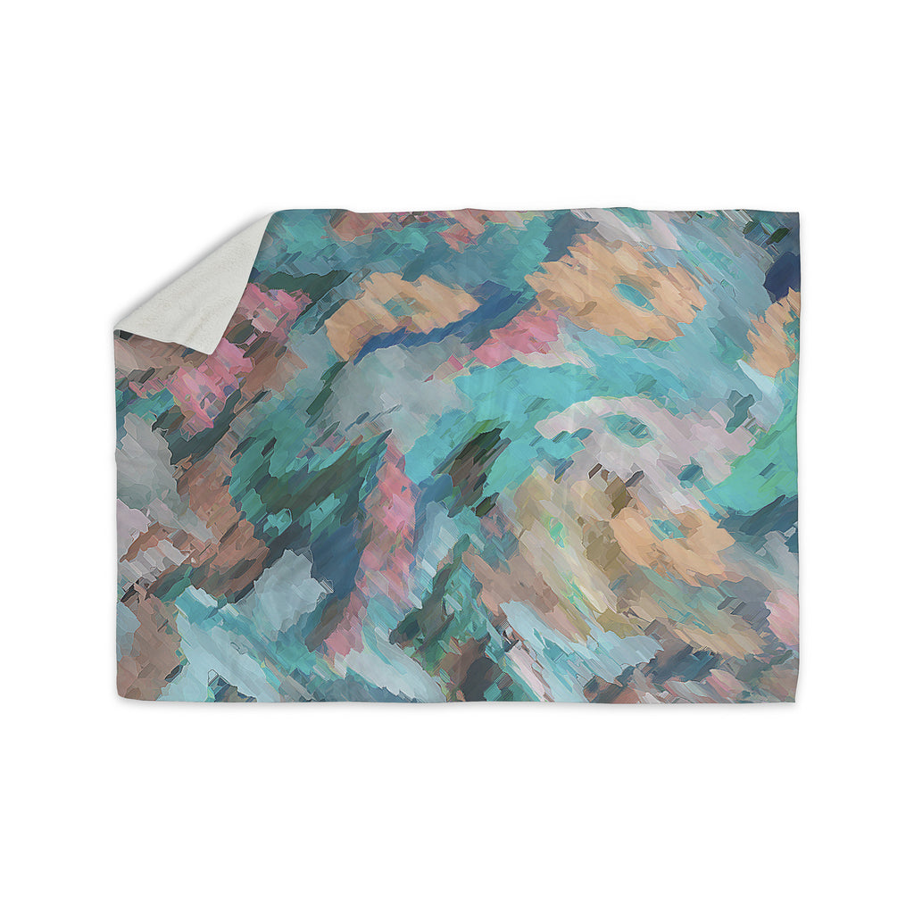 "Alison Coxon ""Giverny Blue"" Teal Abstract Sherpa Blanket - KESS InHouse  - 1"
