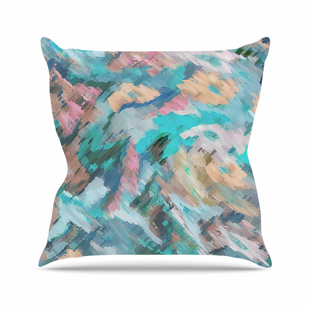 "Alison Coxon ""Giverny Blue"" Teal Abstract Outdoor Throw Pillow - KESS InHouse  - 1"