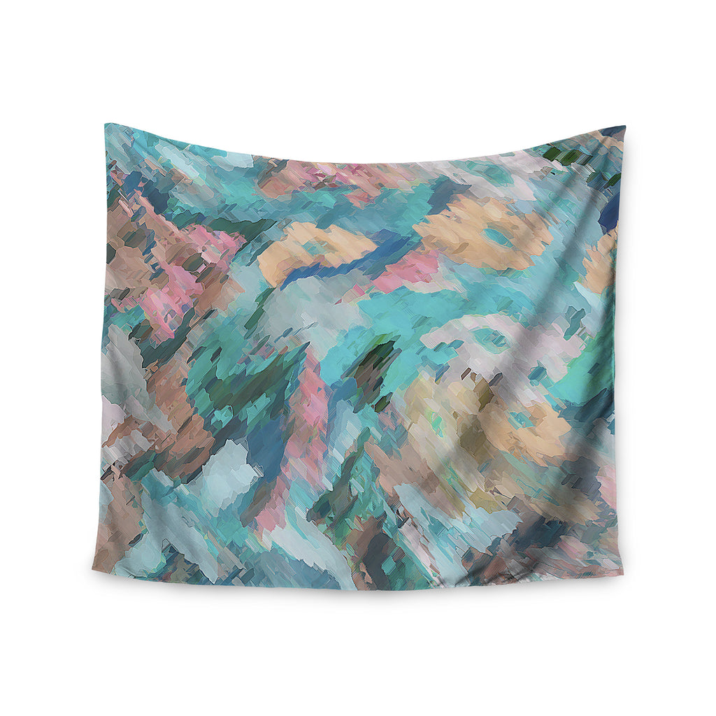 "Alison Coxon ""Giverny Blue"" Teal Abstract Wall Tapestry - KESS InHouse  - 1"