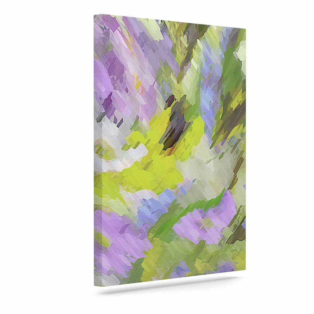 "Alison Coxon ""Giverny Lilac"" Yellow Pattern Canvas Art - KESS InHouse  - 1"