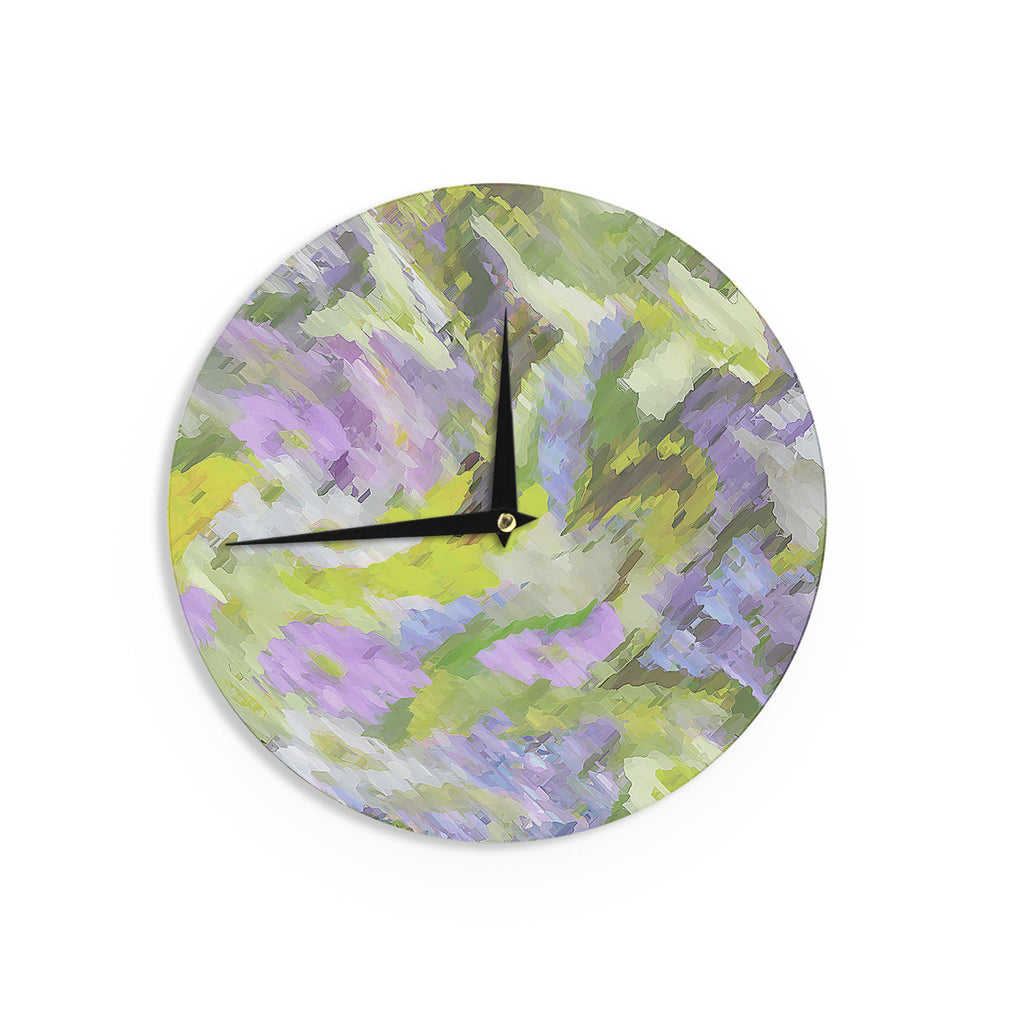 "Alison Coxon ""Giverny Lilac"" Yellow Pattern Wall Clock - KESS InHouse"