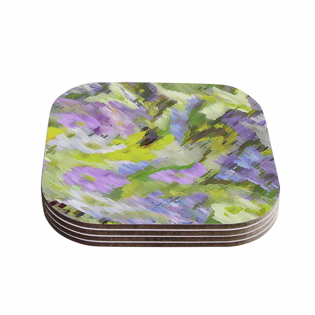 "Alison Coxon ""Giverny Lilac"" Yellow Pattern Coasters (Set of 4)"