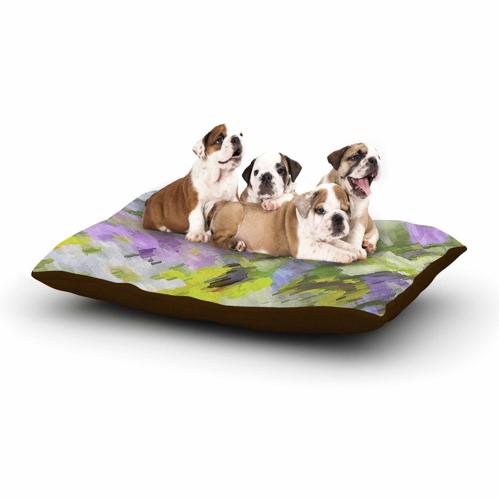 "Alison Coxon ""Giverny Lilac"" Yellow Pattern Dog Bed - KESS InHouse  - 1"