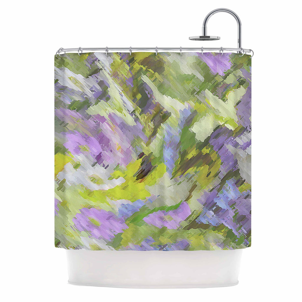 Alison Coxon Giverny Lilac Yellow Pattern Shower Curtain