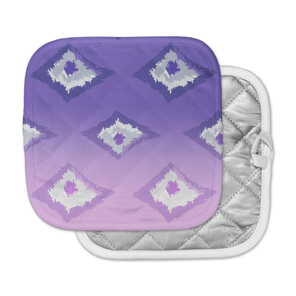 "Alison Coxon ""Purple Ombre Ikat "" Lavender White Pot Holder"