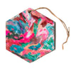 "Alison Coxon ""Giverny Pink""  Hexagon Holiday Ornament"