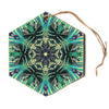 "Alison Coxon ""Paradise Yellow"" Black Teal Hexagon Holiday Ornament"