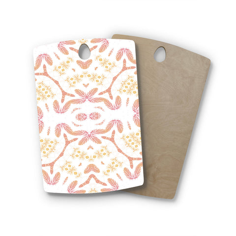 "Alison Coxon ""Aztec Feather"" Coral White Rectangle Wooden Cutting Board"