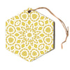 "Alison Coxon ""Flaxen Mandala"" White Yellow Hexagon Holiday Ornament"