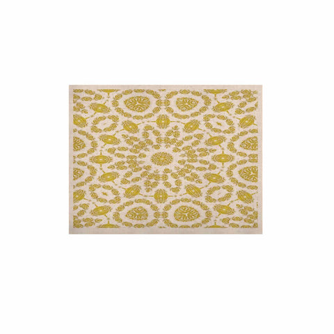 "Alison Coxon ""Flaxen Mandala"" White Yellow Digital KESS Naturals Canvas (Frame not Included)"