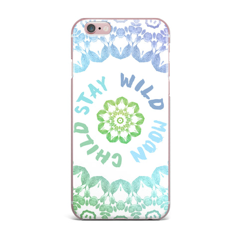 "Alison Coxon ""Stay Wild Moon Child"" Blue Green Digital iPhone Case"