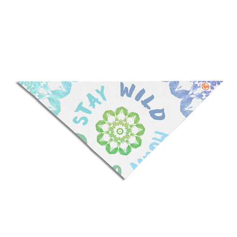 "Alison Coxon ""Stay Wild Moon Child"" Blue Green Digital Pet Bandana"