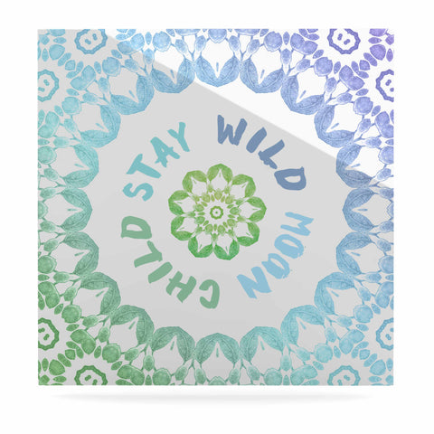 "Alison Coxon ""Stay Wild Moon Child"" Blue Green Digital Luxe Square Panel"