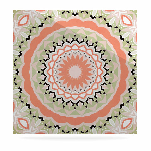 "Alison Coxon ""Mango Tango Mandala"" Orange Olive Digital Luxe Square Panel"
