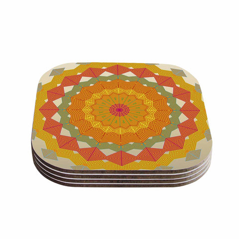 "Angelo Cerantola ""Composition"" Orange Beige Coasters (Set of 4) - Outlet Item"