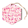 "Angelo Cerantola ""Rosebreath"" Pink Floral Hexagon Holiday Ornament"