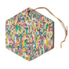 "Angelo Cerantola ""Feel It"" Beige Pattern Hexagon Holiday Ornament"