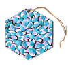 "Angelo Cerantola ""Serenity"" Blue Pink Hexagon Holiday Ornament"