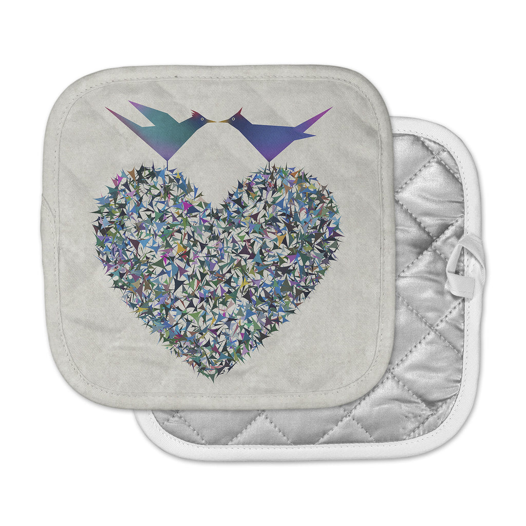 "Angelo Cerantola ""Our Love"" Beige Blue Illustration Pot Holder"