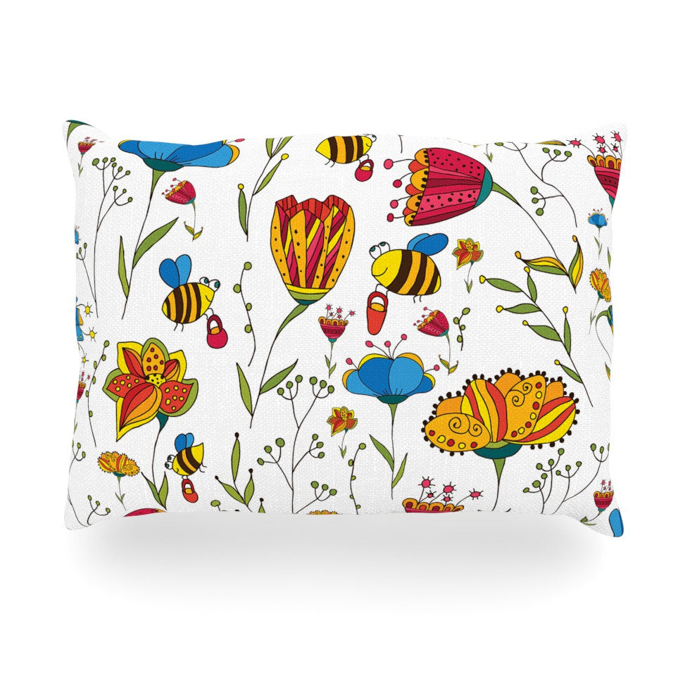 "Alisa Drukman ""Bees"" Multicolor Oblong Pillow - KESS InHouse"