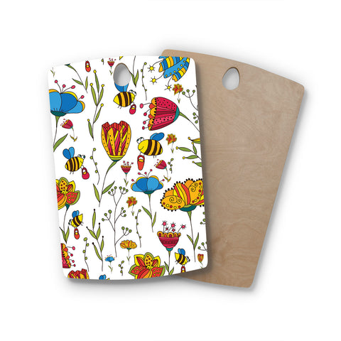 "Alisa Drukman ""Bees"" Multicolor Rectangle Wooden Cutting Board"