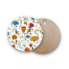 "Alisa Drukman ""Bees"" Multicolor Round Wooden Cutting Board"