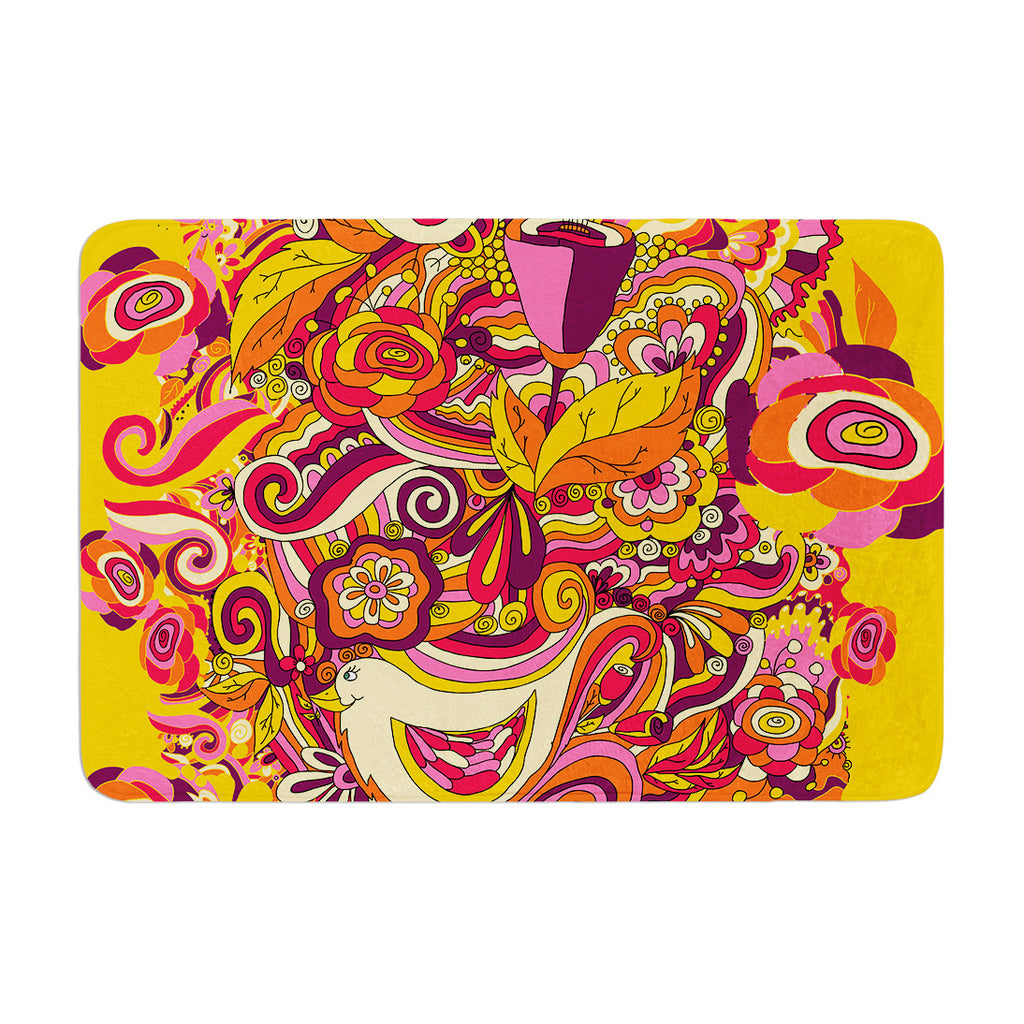 "Alisa Drukman ""Utopia"" Orange Gold Memory Foam Bath Mat - KESS InHouse"