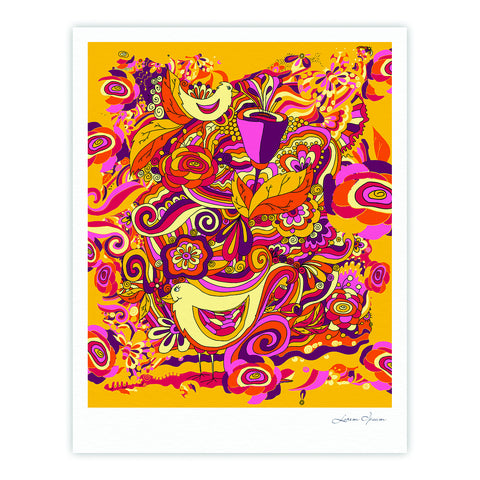 "Alisa Drukman ""Utopia"" Orange Gold Fine Art Gallery Print - KESS InHouse"