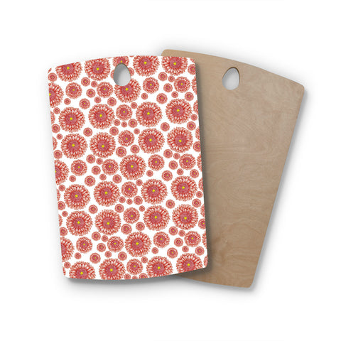 "Alisa Drukman ""Orange flowers. Gerbera"" Floral Pattern Rectangle Wooden Cutting Board"