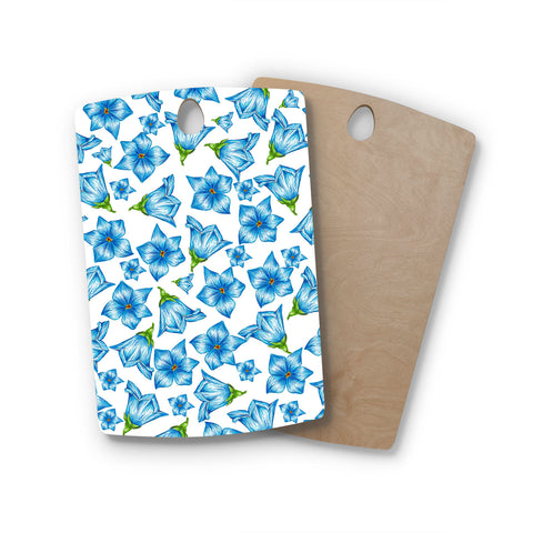 "Alisa Drukman ""Blue Flowers"" Floral Pattern Rectangle Wooden Cutting Board"