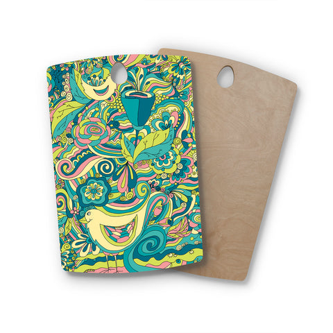 "Alisa Drukman ""Birds in garden"" Teal Green Rectangle Wooden Cutting Board"