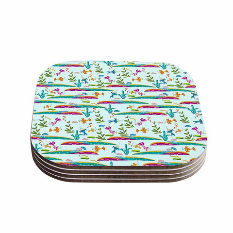 "Alisa Drukman ""Under Sea"" Blue Pattern Coasters (Set of 4) - Outlet Item"