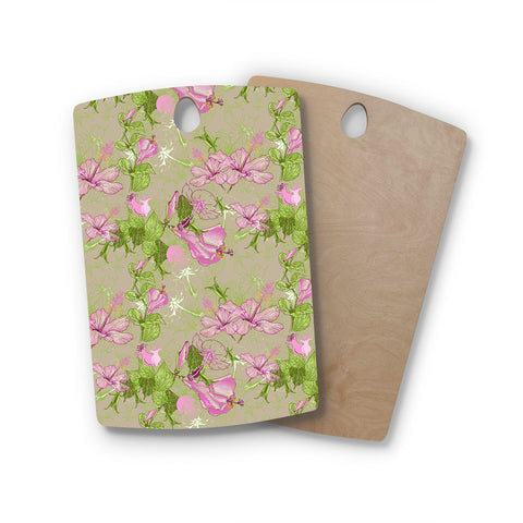 "Alisa Drukman ""Romantic"" Green Pink Rectangle Wooden Cutting Board"