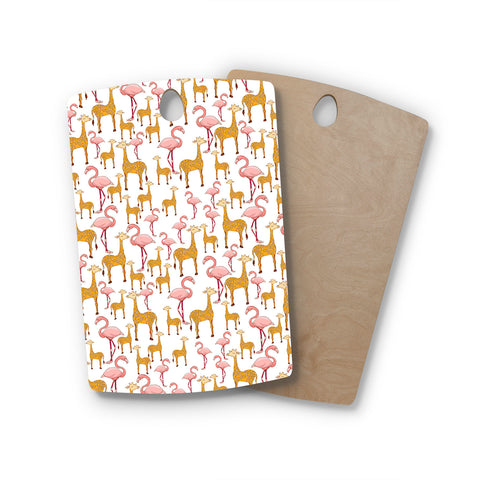 "Alisa Drukman ""Summer"" Orange Pink Rectangle Wooden Cutting Board"