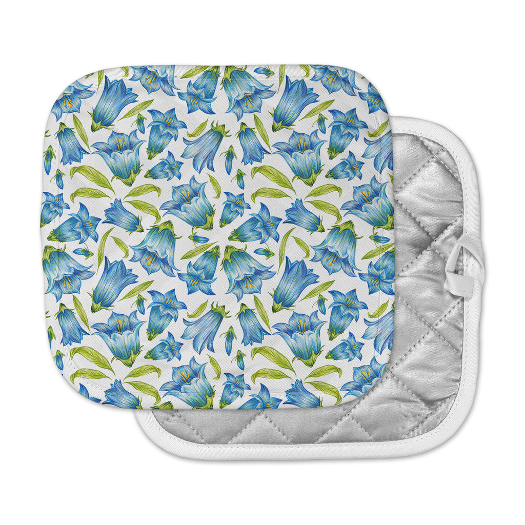 "Alisa Drukman ""Campanula"" Floral Blue Pot Holder"