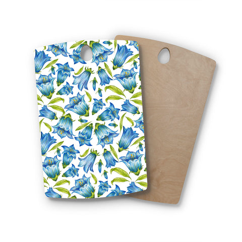 "Alisa Drukman ""Campanula"" Floral Blue Rectangle Wooden Cutting Board"