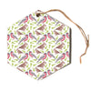 "Alisa Drukman ""Sparrow And Bullfinch"" Pink Green Hexagon Holiday Ornament"