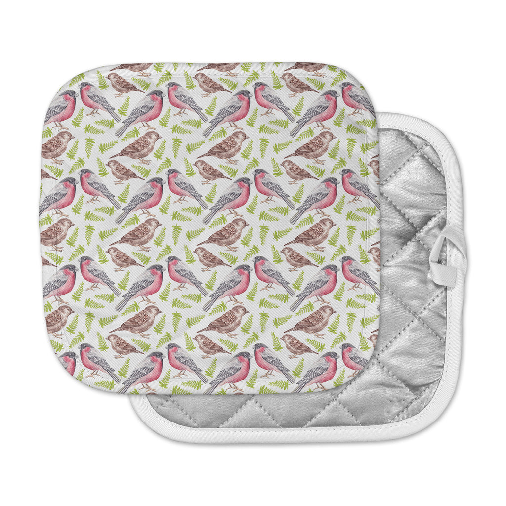 "Alisa Drukman ""Sparrow And Bullfinch"" Pink Green Pot Holder"