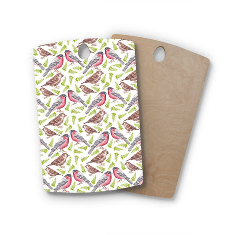 "Alisa Drukman ""Sparrow And Bullfinch"" Pink Green Rectangle Wooden Cutting Board"