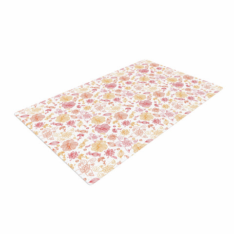 "Alisa Drukman ""Summer Line"" Yellow Illustration Woven Area Rug - Outlet Item"