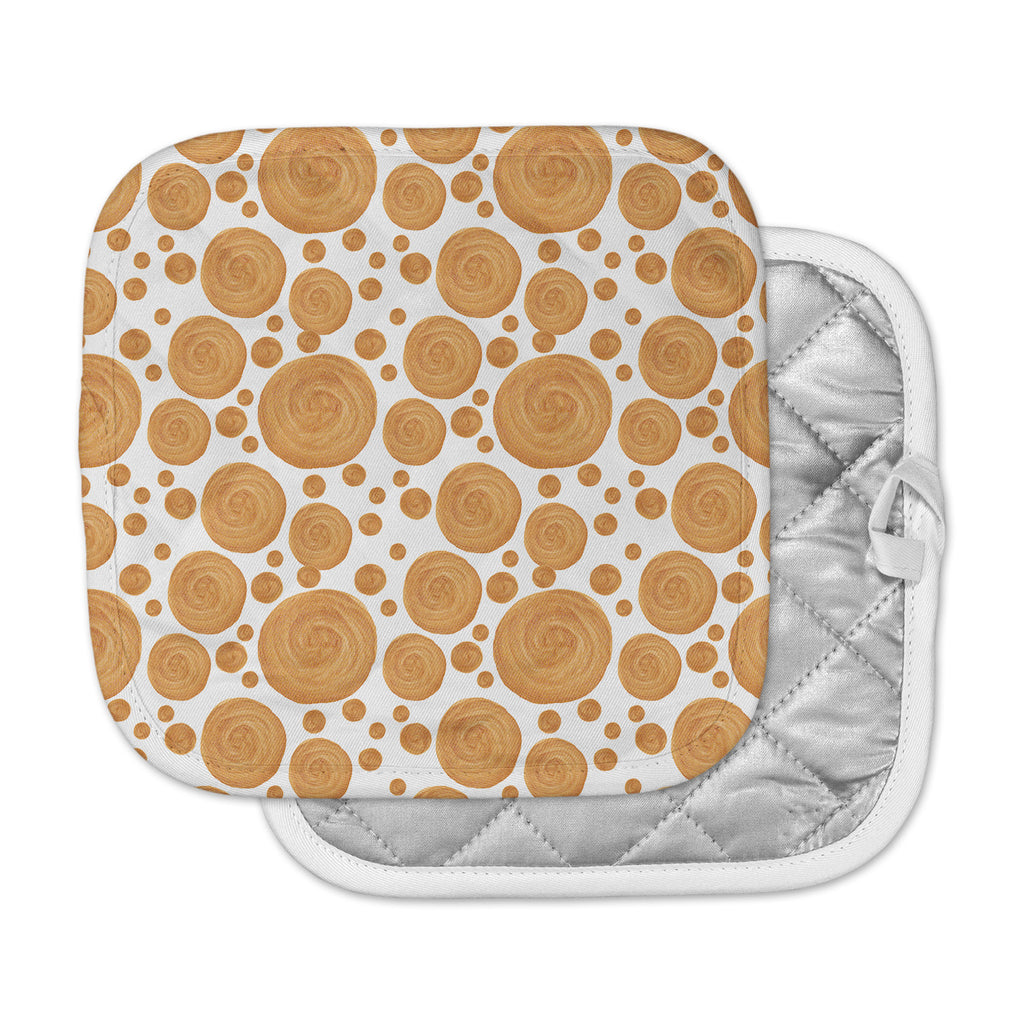 "Alisa Drukman ""Gold Pattern"" Orange Geometric Pot Holder"