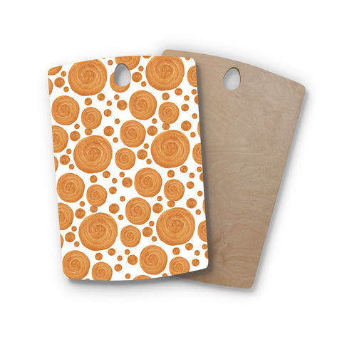 "Alisa Drukman ""Gold Pattern"" Orange Geometric Rectangle Wooden Cutting Board"