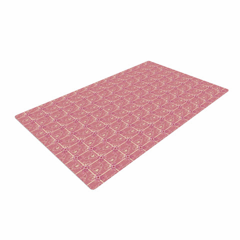 "Alisa Drukman ""Love/love/love"" Pink Abstract Woven Area Rug - Outlet Item"