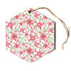"Alisa Drukman ""Lily Flowers"" Pink Nature Hexagon Holiday Ornament"