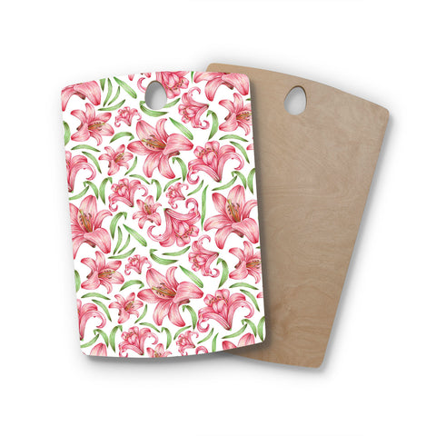 "Alisa Drukman ""Lily Flowers"" Pink Nature Rectangle Wooden Cutting Board"