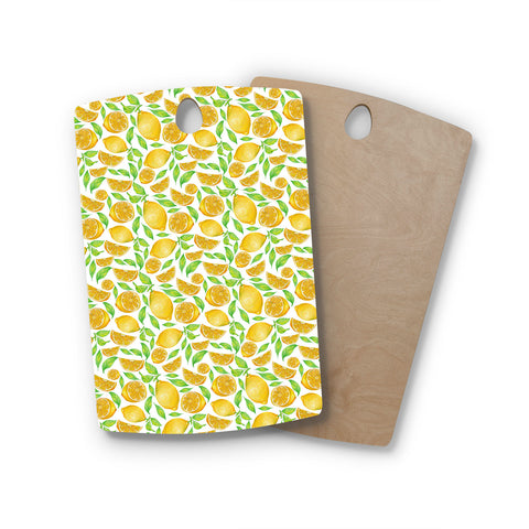 "Alisa Drukman ""Lemons"" Yellow Floral Rectangle Wooden Cutting Board"